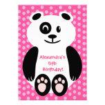 Festa de aniversário cor-de-rosa e roxa da panda d convites personalizado