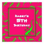 Festa de aniversário cor-de-rosa e verde do tema convite quadrado 13.35 x 13.35cm