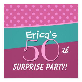 Festa de aniversário cor-de-rosa V005 da surpresa Convite Quadrado 13.35 X 13.35cm