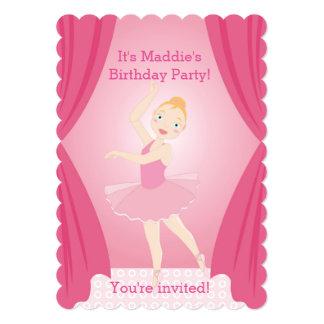 Festa de aniversário da bailarina convite 12.7 x 17.78cm