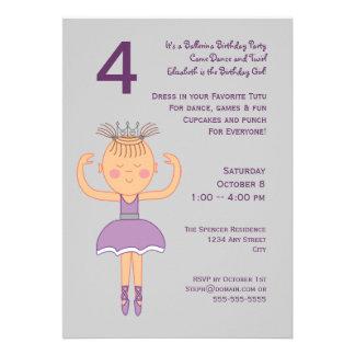 Festa de aniversário da bailarina convite personalizado