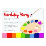 Festa de aniversário da pintura da paleta do convites