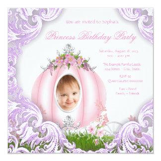 Festa de aniversário da princesa Carruagem Foto Convite Quadrado 13.35 X 13.35cm