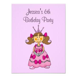 Festa de aniversário da princesa cor-de-rosa 6a convite personalizados