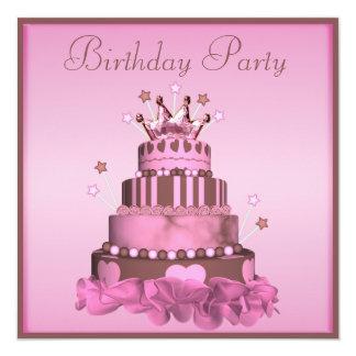 Festa de aniversário da princesa Endurecimento Convite Quadrado 13.35 X 13.35cm
