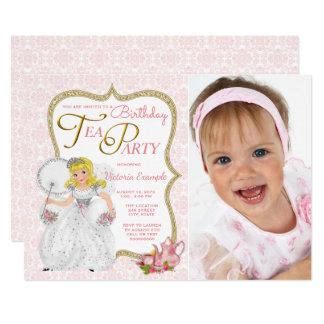Festa de aniversário da princesa tea party convite 12.7 x 17.78cm