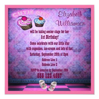 Festa de aniversário de néon cor-de-rosa dos convite quadrado 13.35 x 13.35cm