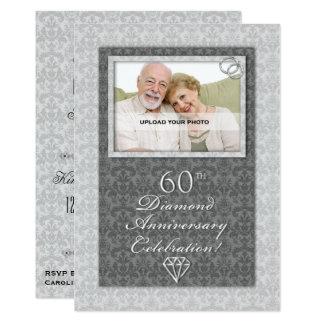 Festa de aniversário do casamento de diamante do convite 12.7 x 17.78cm