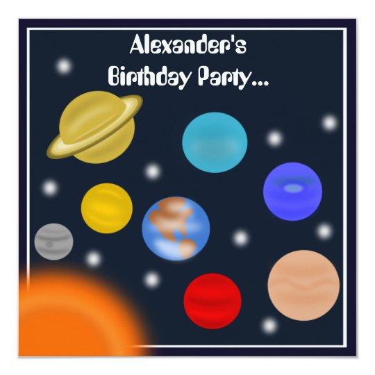 Festa de aniversário do espaço do sistema solar convite quadrado 13.35 x 13.35cm