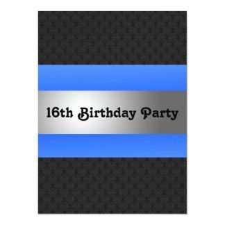 Festa de aniversário do menino a 16a convida convite 13.97 x 19.05cm