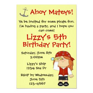 Festa de aniversário do pirata da menina convite 12.7 x 17.78cm