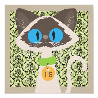 Festa de aniversário do roteiro engraçado do gato convite quadrado 13.35 x 13.35cm