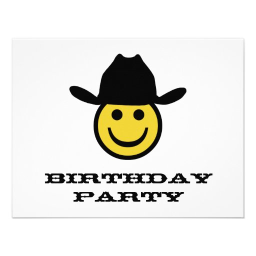 Festa de aniversário do smiley do vaqueiro convite