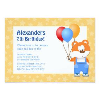 Festa de aniversário do urso de ursinho dos miúdos convite 12.7 x 17.78cm
