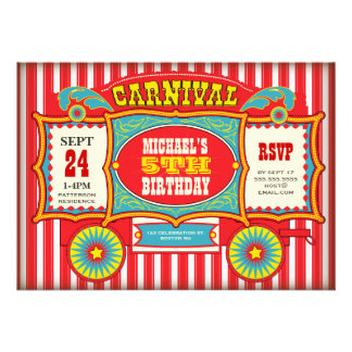Festa de aniversário do vagão do carnaval do circo convites personalizado