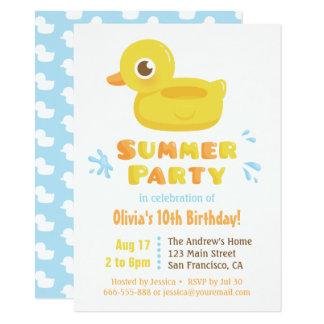 Festa de aniversário Ducky de borracha bonito do Convite 11.30 X 15.87cm