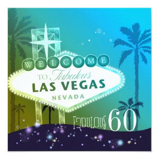 Festa de aniversário FABULOSA de 60 Las Vegas Convite Quadrado 13.35 X 13.35cm