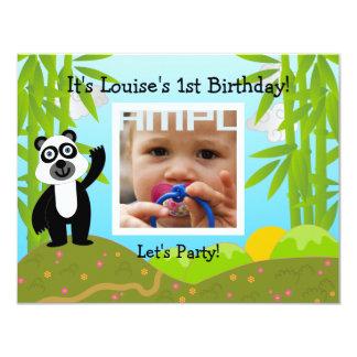 Festa de aniversário feliz com urso de panda convite 10.79 x 13.97cm