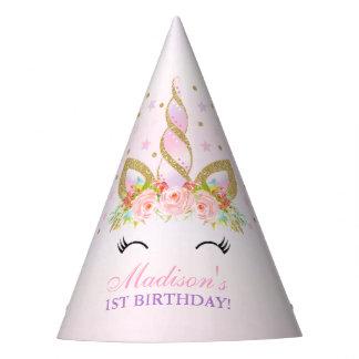 Festa de aniversário floral do unicórnio do chapéu