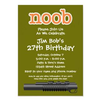Festa de aniversário - Gamer engraçado de Noob Convite 12.7 X 17.78cm