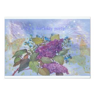 FESTA DE ANIVERSÁRIO ilustrada do Lilac & da Convite 12.7 X 17.78cm