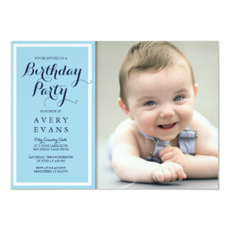 Festa de aniversário infantil azul com foto convite 12.7 x 17.78cm