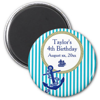 Festa de aniversário personalizada náutica ímã redondo 5.08cm