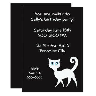 Festa de aniversário preto e branco do gato convite 12.7 x 17.78cm