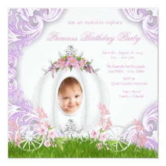 Festa de aniversário roxa da princesa Carruagem Convite Quadrado 13.35 X 13.35cm