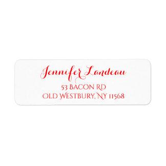 Festa de casamento vermelha e branca do nome da etiqueta endereço de retorno