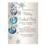 Festa de Natal azul dos ornamento dos flocos de ne Convite