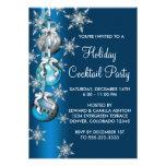 Festa de Natal azul dos ornamento dos flocos de ne Convite Personalizados