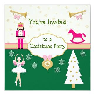 Festa de Natal dos miúdos - árvore, bailarina, Convite Quadrado 13.35 X 13.35cm
