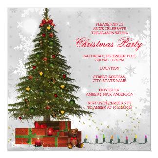 Festa de Natal festiva da árvore vermelha das Convite Quadrado 13.35 X 13.35cm