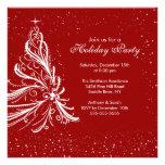 Festa de Natal vermelha & branca elegante do feria Convites Personalizado