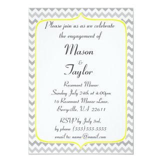 Festa de noivado amarela e cinzenta elegante de convite 12.7 x 17.78cm