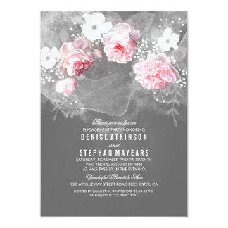 Festa de noivado cor-de-rosa do rosa & as brancas convite 12.7 x 17.78cm