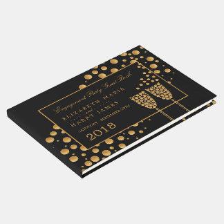 Festa de noivado das bolhas de Champagne do ouro Livro De Visitas