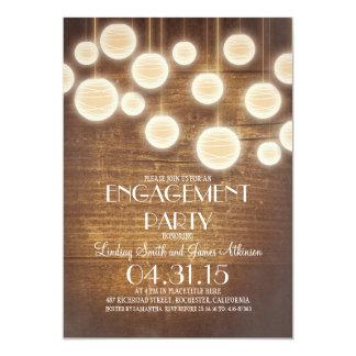 festa de noivado de madeira do vintage com convite 12.7 x 17.78cm