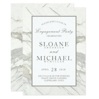 Festa de noivado elegante de mármore do quadro   convite 12.7 x 17.78cm