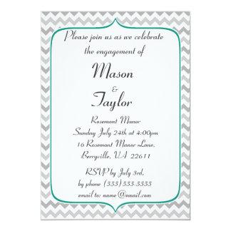 Festa de noivado esmeralda e cinzenta de Chevron Convite 12.7 X 17.78cm