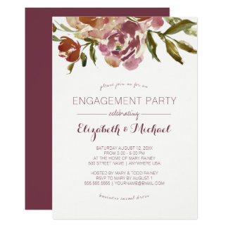 Festa de noivado floral da queda de Borgonha Convite 12.7 X 17.78cm