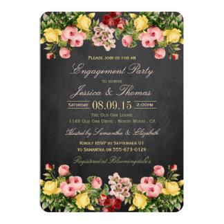Festa de noivado floral do quadro do vintage convite 12.7 x 17.78cm