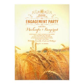 festa de noivado rústica amarela do vintage do convite 12.27 x 17.78cm