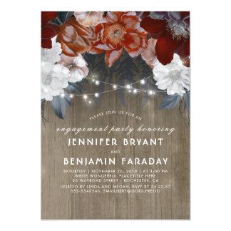 Festa de noivado rústica das luzes florais da convite 12.7 x 17.78cm