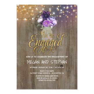 Festa de noivado rústica roxa floral do frasco de convite 12.7 x 17.78cm