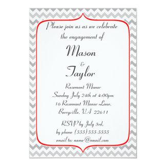 Festa de noivado vermelha e cinzenta extravagante convite 12.7 x 17.78cm