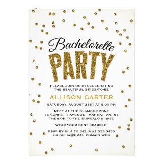 Festa de solteira dos confetes do olhar do brilho convites