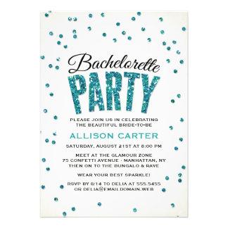 Festa de solteira dos confetes do olhar do brilho convites personalizado