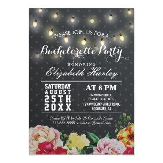Festa de solteira floral branca preta da luz da convite 12.7 x 17.78cm